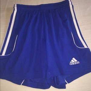Blue adidas soccer shorts women's XS